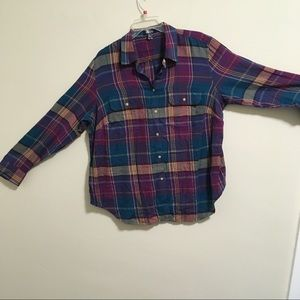 Chaps Teal Burgundy Plaid Shirt 1X
